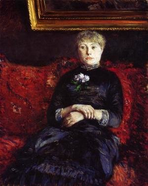 Gustave Caillebotte - Woman Sitting on a Red-Flowered Sofa