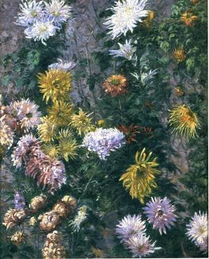 Gustave Caillebotte - White and Yellow Chrysanthemums, Garden at Petit Gennevilliers