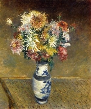 Gustave Caillebotte - Chrysanthemums in a Vase