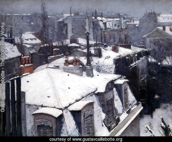 Snow-Covered Roofs in Paris