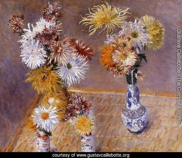 Four Vases Of Chrysanthemums