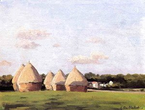 Gustave Caillebotte - Harvest  Landscape With Five Haystacks