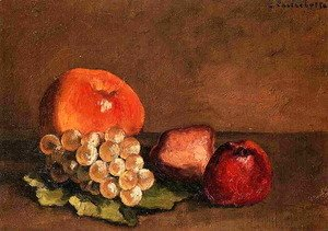 Gustave Caillebotte - Peaches  Apples And Grapes On A Vine Leaf