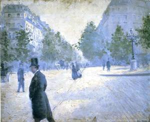 Gustave Caillebotte - Place Saint Augustin  Misty Weather