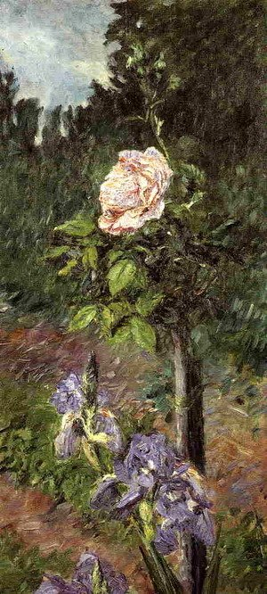Gustave Caillebotte - Rose With Purple Iris  Garden At Petit Gennevilliers