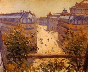 Gustave Caillebotte - Rue Halevy  Balcony View