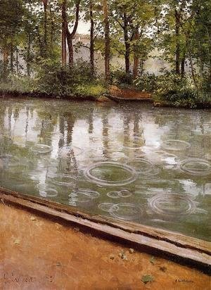 Gustave Caillebotte - The Yerres  Rain Aka Riverbank In The Rain