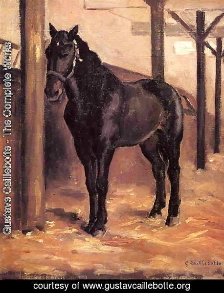 Gustave Caillebotte - Yerres  Dark Bay Horse In The Stable