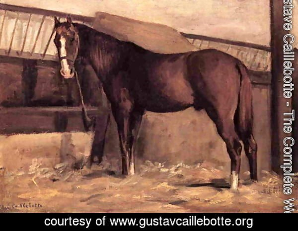 Gustave Caillebotte - Yerres  Reddish Bay Horse In The Stable