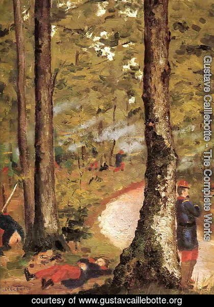 Gustave Caillebotte - Yerres  Soldiers In The Woods